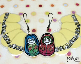 Vocaloid Matryoshka Charms - With Strap For Cell Phone and More - Choose From Gumi Megpoid and Hatsune Miku - Wow Double Sided!!