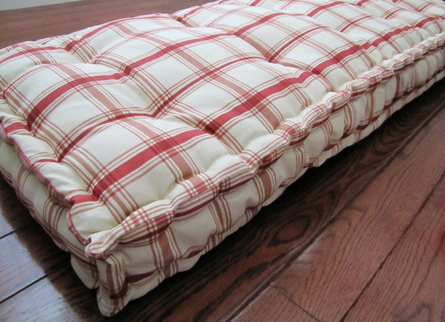 Custom bench cushion red plaid window seat french