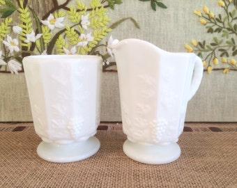 Westmoreland Creamer and Sugar Milk Glass Paneled Grape Pattern