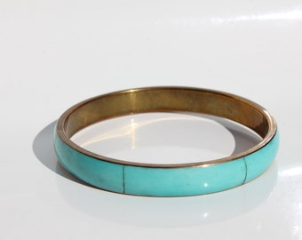 Aqua vintage enamel bangle