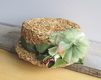 Vintage Woven Straw Women's Hat Green Velvet Band Floral Bow Narrow Brim