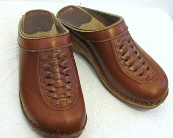 Vtg 70's,Brown Swedish WOODEN Bottom Boho/Hippie era Clogs.36 (6)AS IS