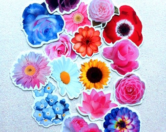 Flower Sticker Set of 16 large stickers