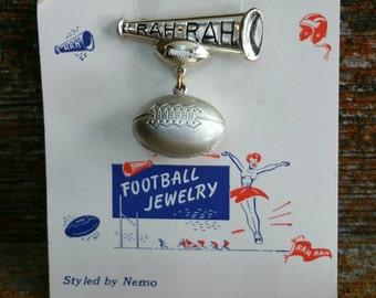 Vintage Plastic Football Pin, Rah Rah Cheerleading Pin, Football Brooch, Collectible Brooch Pin, Shawl Pin, Scarf Pin