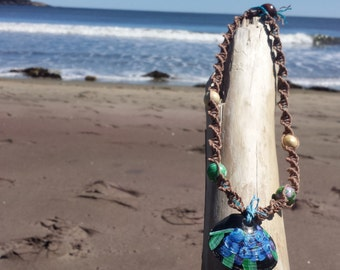 18in. Maine Beach Shell with Hand-painted Blueberries on Natural Hemp Cord & Wooden Beads