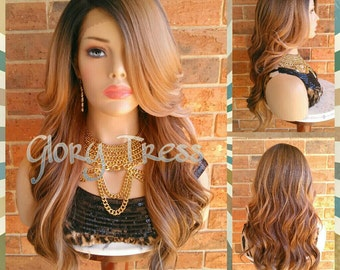 ON SALE // Long Silky Wavy Lace Front Wig, Ombre Blonde Wig, Dark Rooted Bombshell Wig // PURITY (Free Shipping)
