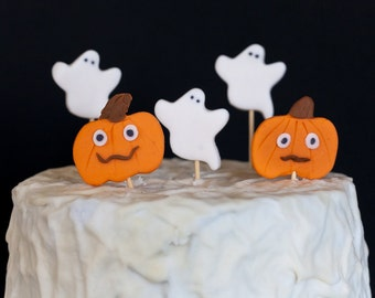 Ghosts and Pumpkins Cupcake Toppers - Halloween Thanksgiving Fall