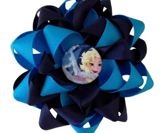 Frozen Theme Elsa Flower Hairbow. This bow is made to match the dress listed.