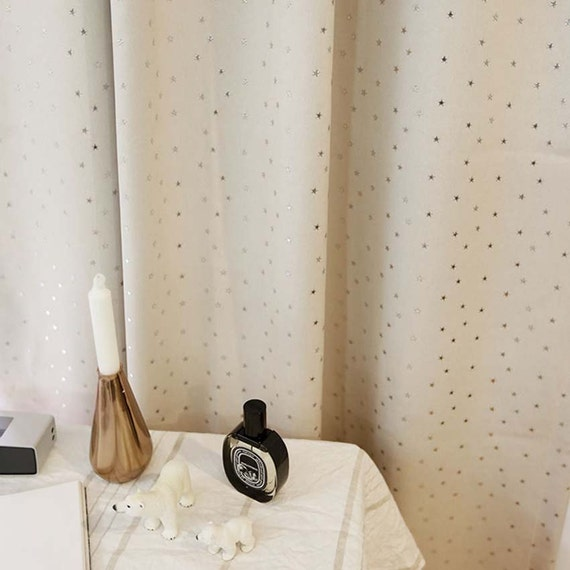 sparkling silver star ivory blackout curtains kids by