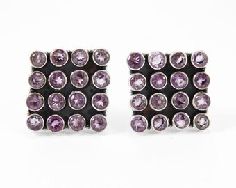 Beautiful Amethyst Square Sterling Silver 925 Handmade Cufflinks Mens Jewellery Purple by AmoreJewels