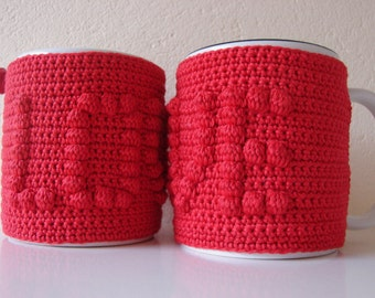 Mug cozy LOVE | cup cozy | Valentine's day gift | cup cozy heart | crochet coffee cozy | sleeve cozy | I Love you | love | red heart sleeve