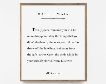 mark twain print, printable quote, inspirational quote print, printable words, adventure art, sail quote, nautical art, inspirational print