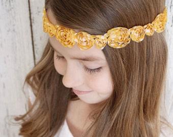Mustard Chiffon shabby chic vintage bohemian headband for babies, girls, teens, women