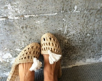 Straw house slippers, housewarming gift boho style,straw hat