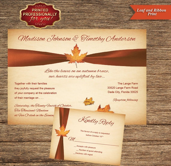 Fall invitation and respond card set of 25 printed professionally for