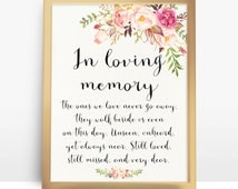 Instant Download Pink floral wedding sign In Loving Memory Printable Wedding Memorial Sign DIY 4x6 5x7 8x10 A4