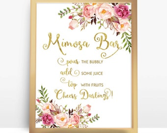 Mimosa bar sign, mimosa sign, bridal shower mimosa sign, mimosa bar signage, Brunch mimosa sign, mimosa bar printable, printable mimosa sign