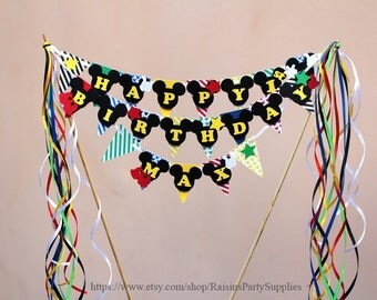 Mickey cake banner Mickey cake topper custom birthday banner Disney clubhouse First Mickey Mouse party decorations Boy Green Yellow Blue Red