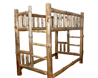 rustic pine log queen over queen complete bunk bed frame in natural clear varnish amish made in usa