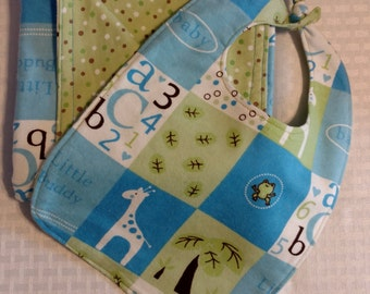 CLEARANCE! Flannel Blanket/Bib Baby Gift Sets (double-sided). Blue and Green w Giraffes and ABC