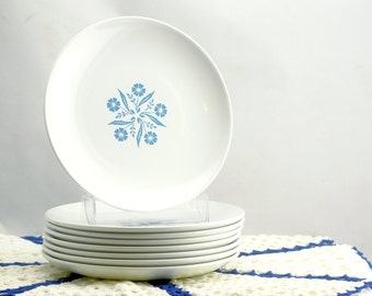 Vintage Corning Centura Cornflower Blue Bread and Butter Plates - Set of 8