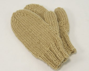Child's knit mittens,tan mittens,small mittens,mittens in the round,acrylic mittens,childrens outerwear, Vermont mittens,thumbed mittens