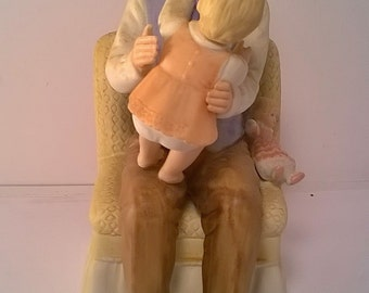 Vintage Ceramic Homco 1476 Sitting with Daddy Figurine