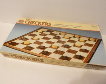 Wooden Checkers Game by: Pavilion, 1988 circa