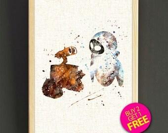 Disney art poster - Wall-E & Eve - FREE SHIPPING [542s2g]