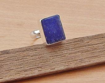 Cushion Shape Lapis Lazuli Gemstone  925 Sterling silver Ring Size 8, Handmade gift ring