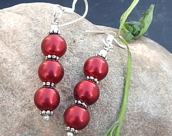 Round Red Pearl Gemstone 925 silver Earrings Jewelry