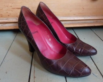 Vintage Joseph brown leather high heeled shoes size 39 UK 6