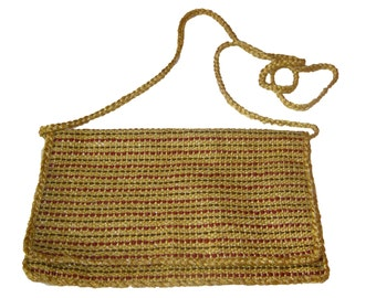 Handwoven gold clutch bag