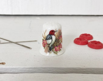 Collectible Bone China Thimble by Ken Parry  - Woodpecker and Flowers Made in England