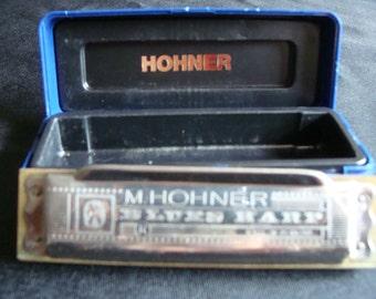 M. Hohner Blues Harp Harmonica, Harmonica in the Key of C, German harmonica , Vintage Musical memorabilia, 1970's Blues Harp Harmonica
