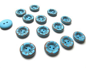 "10 Teal flower buttons - Turquoise buttons - Wooden buttons - Wood buttons - Large buttons - 22 mm 7/8"" buttons - Craft buttons. UK Seller"