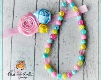 Spring necklace  and headband set