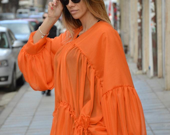 Asymmetric Shirt, One Size Tunic, Extravagant Long Dress, Oversized Top, Summer Orange Shirt, Daywear Casual Top By SSDfashion