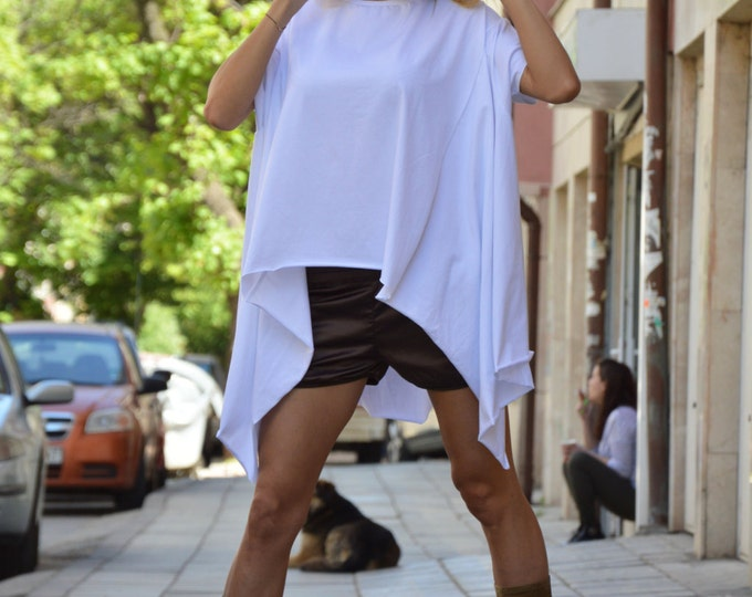 Tunic Tops, Cotton White Top, Maxi Tunic, Oversize Top, Casual Plus Size Tunic, Asymmetric Top, Extravagant Short Sleeves Top by SSDfashion