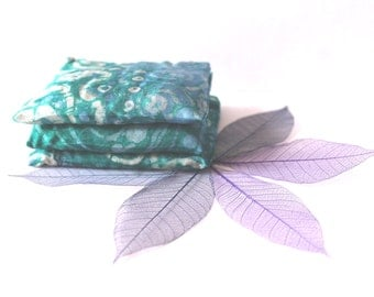 Small batik pillow. Scent bags, lavender sachet small handpainted silk, set of 3, sachets filled with French lavender, wardrobe freshener