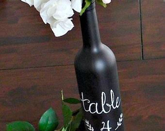 Table Number/Vase Wine Bottle Chalkboard Handmade Customizable