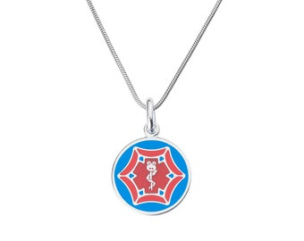 "Dr. Spider Jr. 316L 1"" Medical Alert ID Pendant Neckalce w/ Snake Chain-Free Engraving,  Wallet Card, Apps-5780"