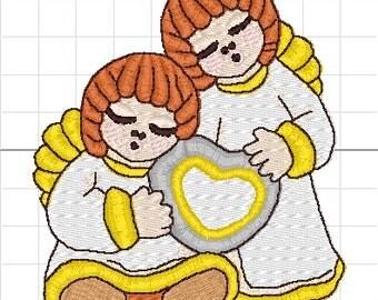 Angels hearts imitation thun machine embroidery