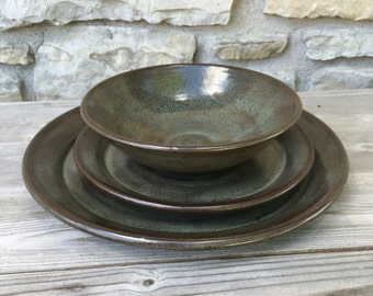 Pottery dinnerware 3pc set in Iron Lustre handmade dishes