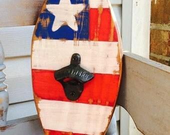 Patriotic American Flag Surfboard Bottle Opener