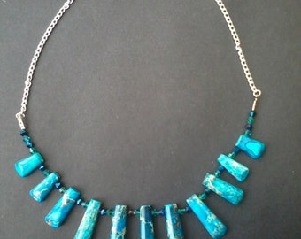Blue or Purple Sea Sediment Jasper Beaded Necklace