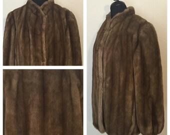 Original Vintage 1980's, but 40's Style Brown Faux Fur Short Coat with Vertical Lines, 40's Style Fur Coat, 80's Fur Coat, Size: XL- 2XL.