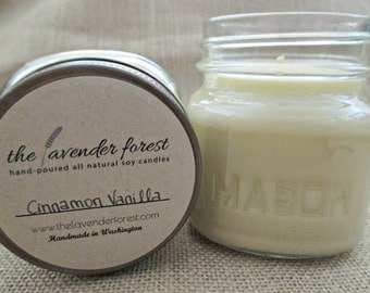 cinnamon vanilla // hand-poured 8oz mason jar soy candle // natural soy wax // highly scented // rustic