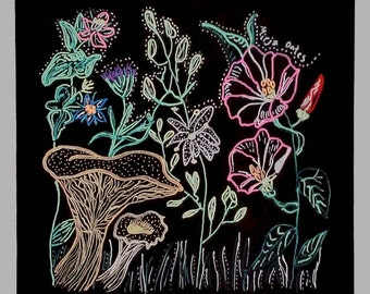 A4 Gilcee print of illustration of wild floral nature pattern