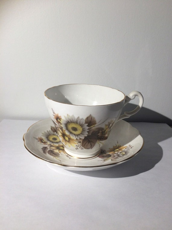 Royal Ascot Bone China Tea Cup and Saucer Yellow/ Tan Flowers
